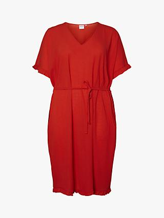 JUNAROSE Curve Ebony Frill Sleeve Dress, Red
