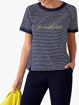 Pure Collection Easy Cotton Striped Sunshine T-Shirt, Navy