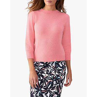 Pure Collection 3/4 Sleeve Sweater, Flamingo Pink