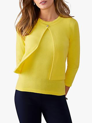 Pure Collection One Button Cropped Cardigan, Buttercup