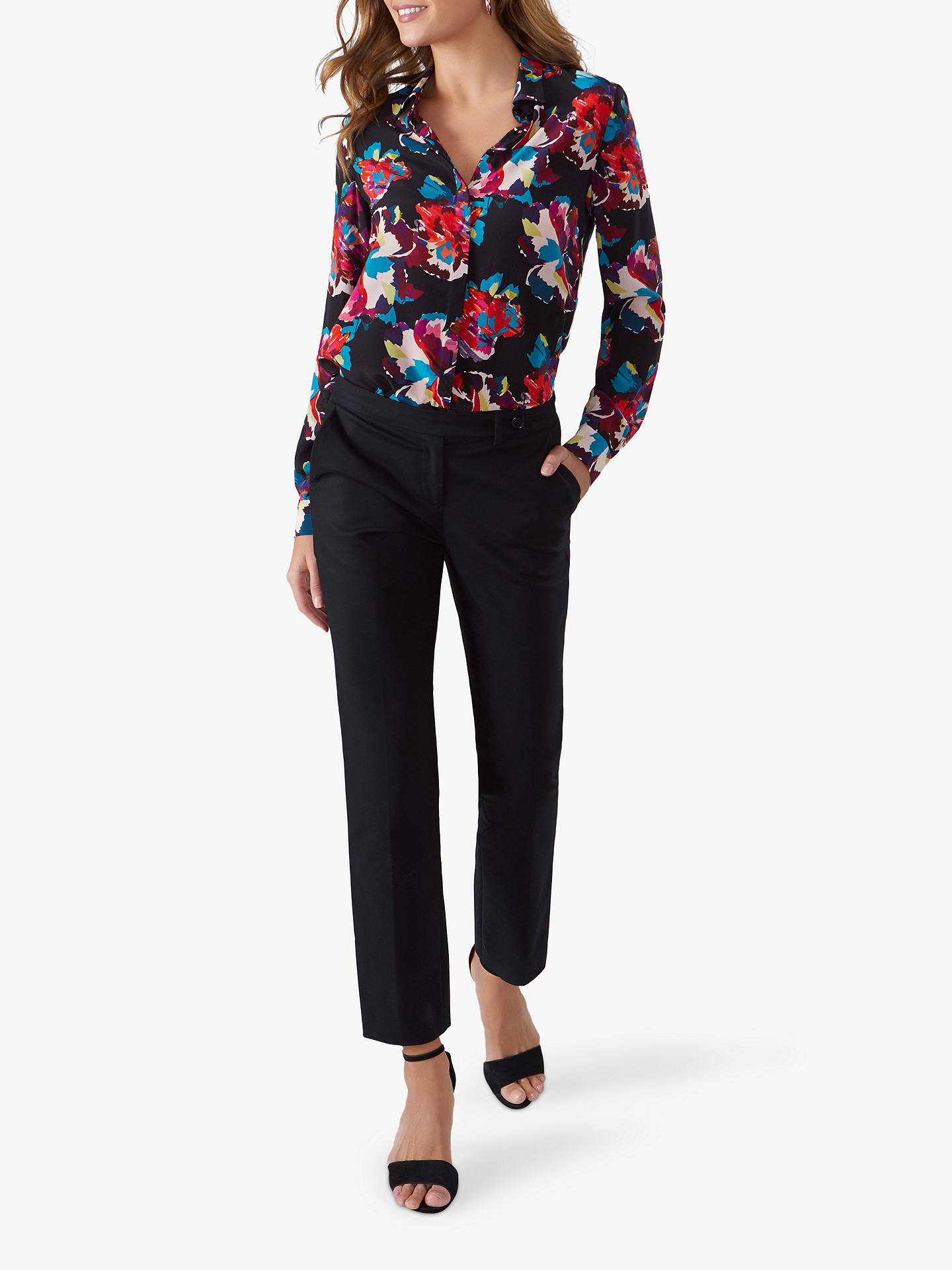 Buy Pure Collection Sateen Ankle Trousers, Black, 10 Online at johnlewis.com