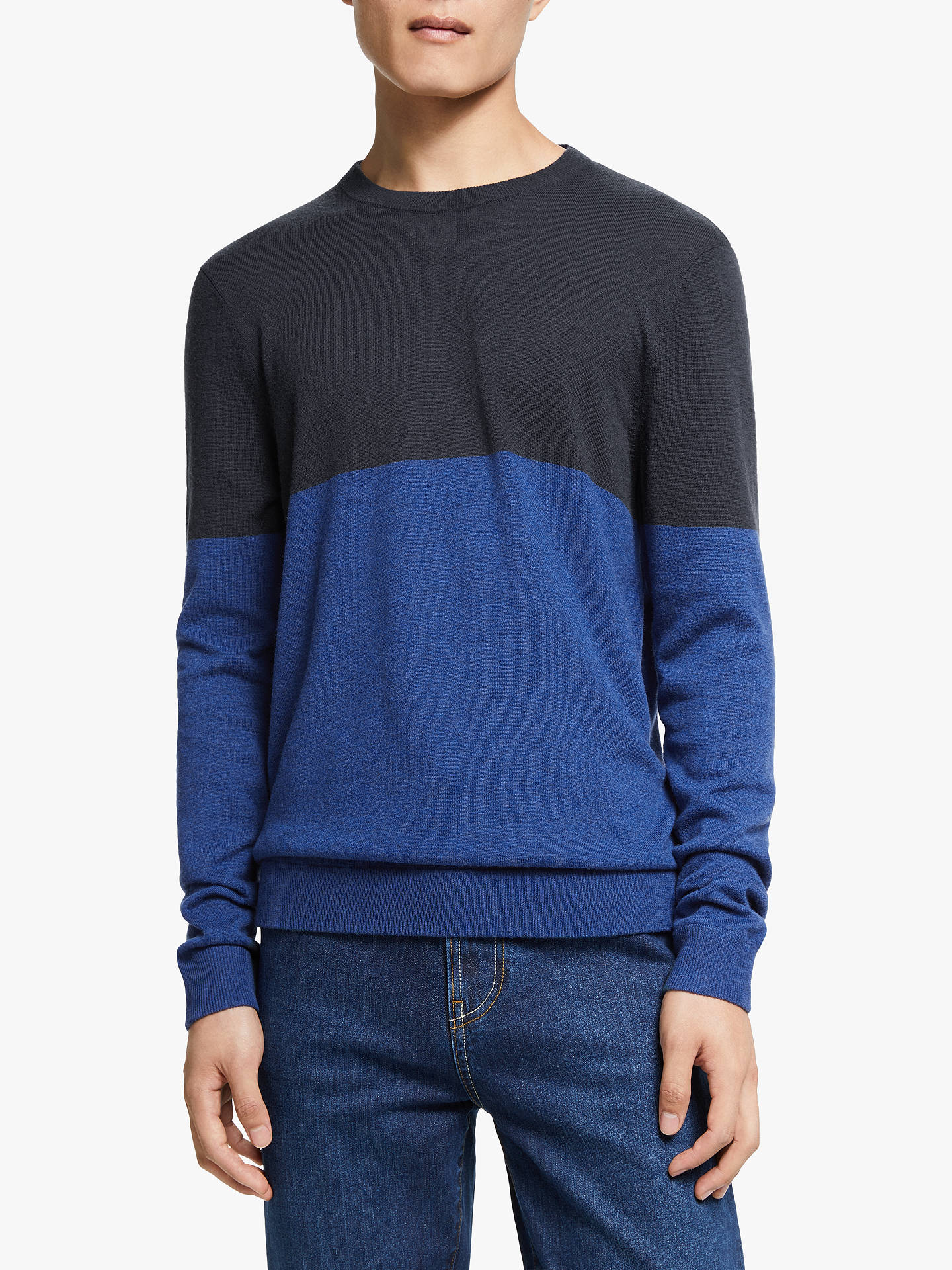 Buy Kin Merino Cashmere Colour Block Jumper, Blue, M Online at johnlewis.com