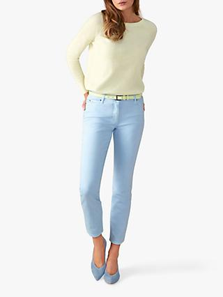Pure Collection Cropped Denim Jeans, Pale Blue