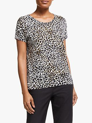 Winser London Leopard Short Sleeve Jumper, Brown