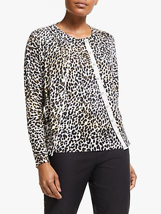 Winser London Leopard Print Cardigan, Brown