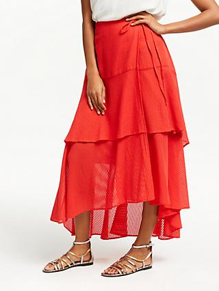 AND/OR Emma Tiered Ruffle Skirt, Bright Red