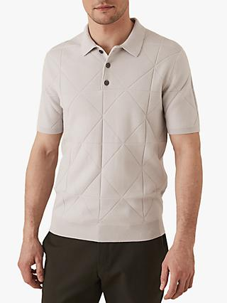 Reiss Douglas Diamond Knitted Polo Shirt, Ice Grey