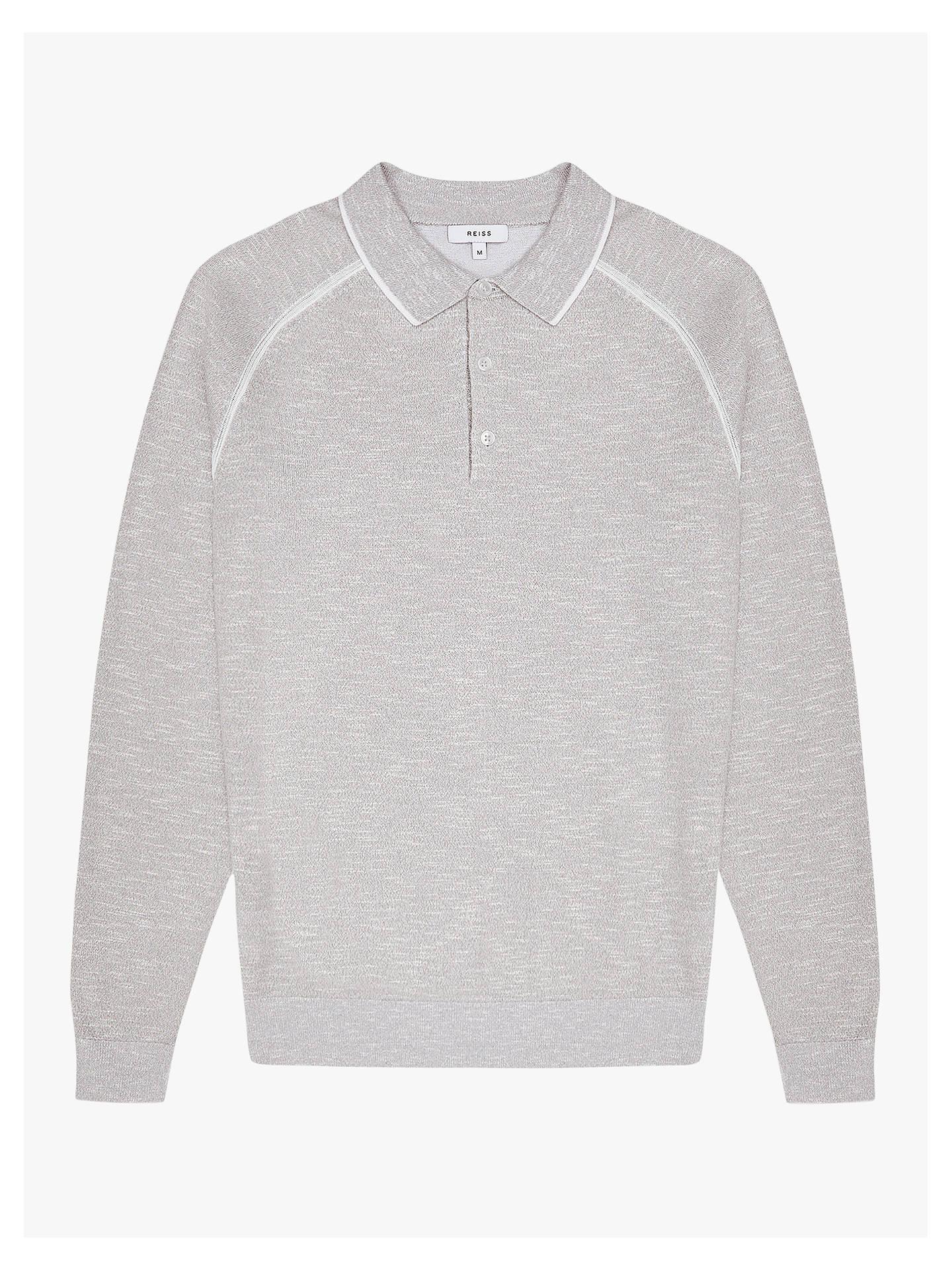 54e5495cf Reiss Earlsfield Long Sleeve Tipped Polo Shirt, Grey at John Lewis ...