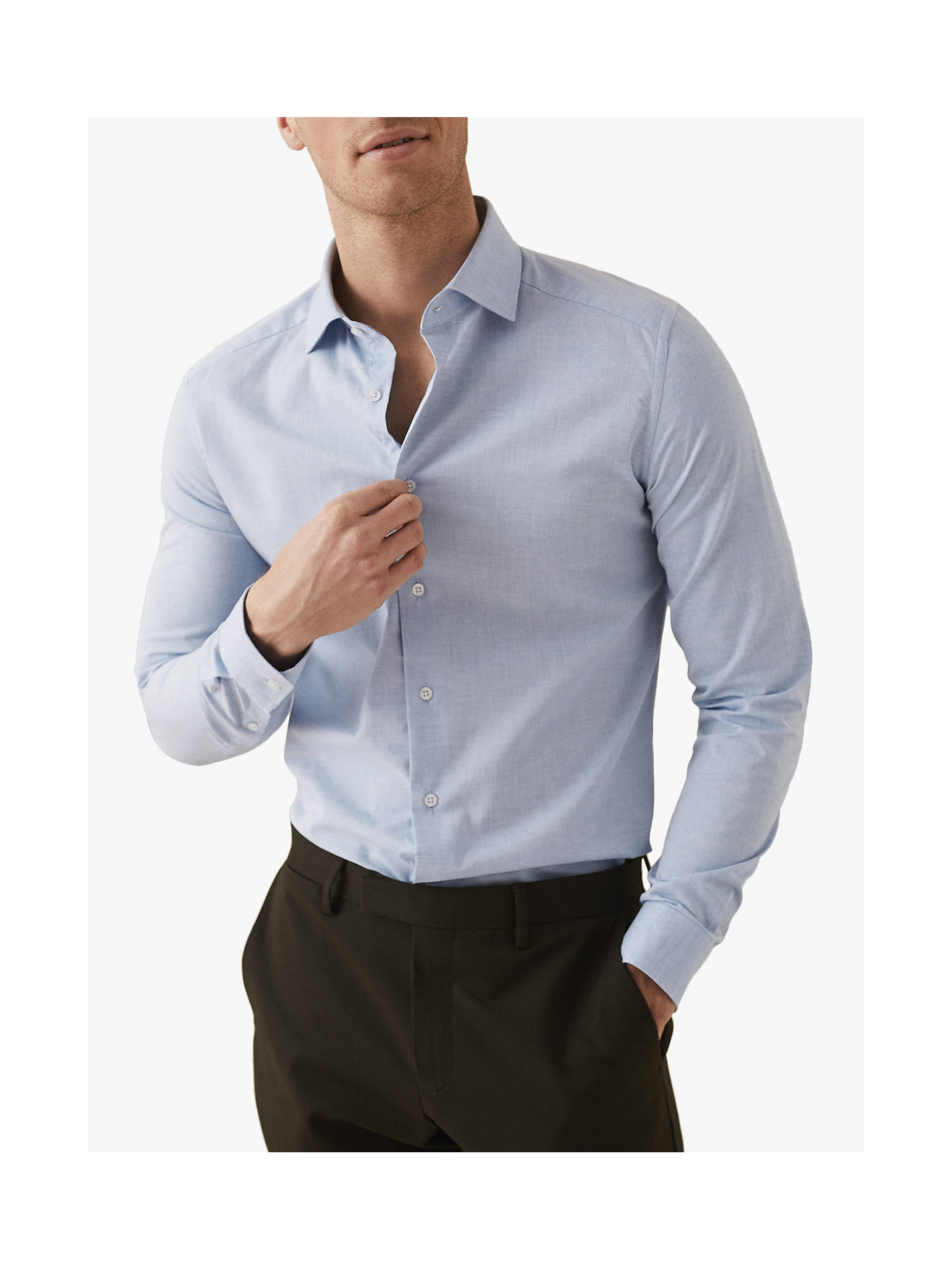 4d4960e5a Buy Reiss Irving Cotton Slim Fit Shirt, Light Blue, XS Online at johnlewis.
