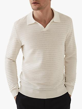 Reiss Patterson Long Sleeve Open Collar Polo Shirt, White