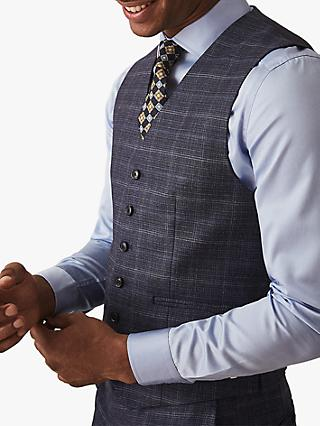 Reiss Stanford Wool Slim Fit Check Waistcoat, Navy