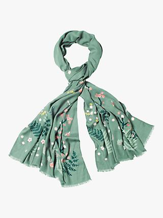 White Stuff Birds Bees Cherry Trees Scarf, Seafoam Green