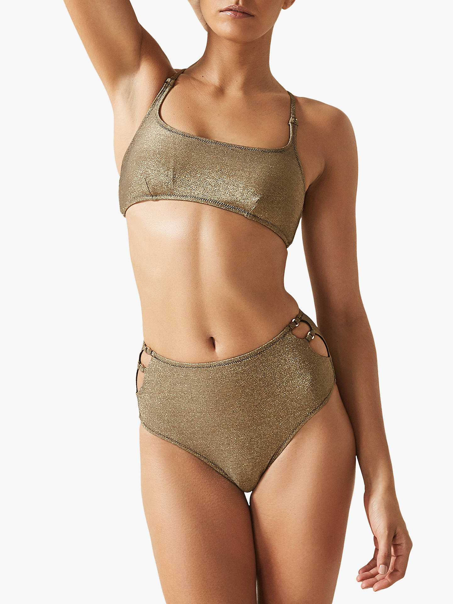 0601c37fe50 Buy Reiss Theodora High Waisted Bikini Bottoms, Gold, XS Online at  johnlewis.com ...