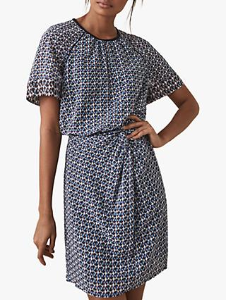 Reiss Heidi Knot Waist Diamond Print Dress, Multi