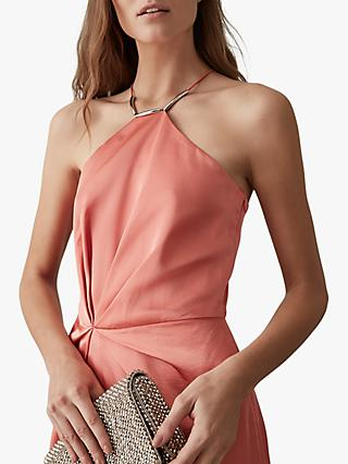 Reiss Paola Halterneck Cocktail Dress, Coral