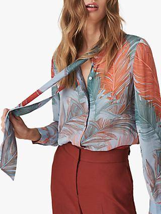 Reiss Asta Feather Print Pussy Bow Blouse f0e2b5a3b