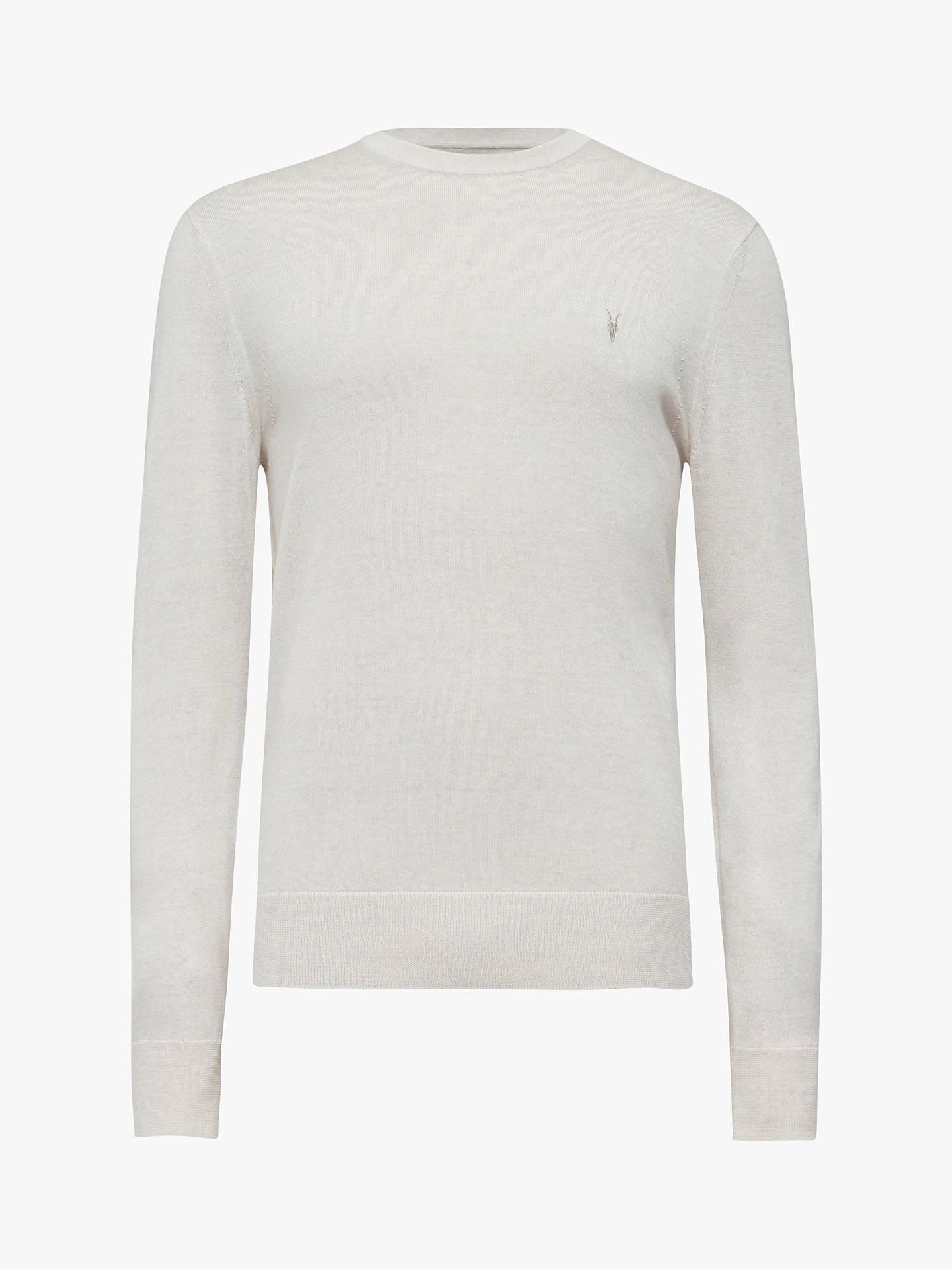 b941d824b5cc6b ... Buy AllSaints Mode Merino Crew Neck Jumper, Ecru Grey Marl, XL Online  at johnlewis