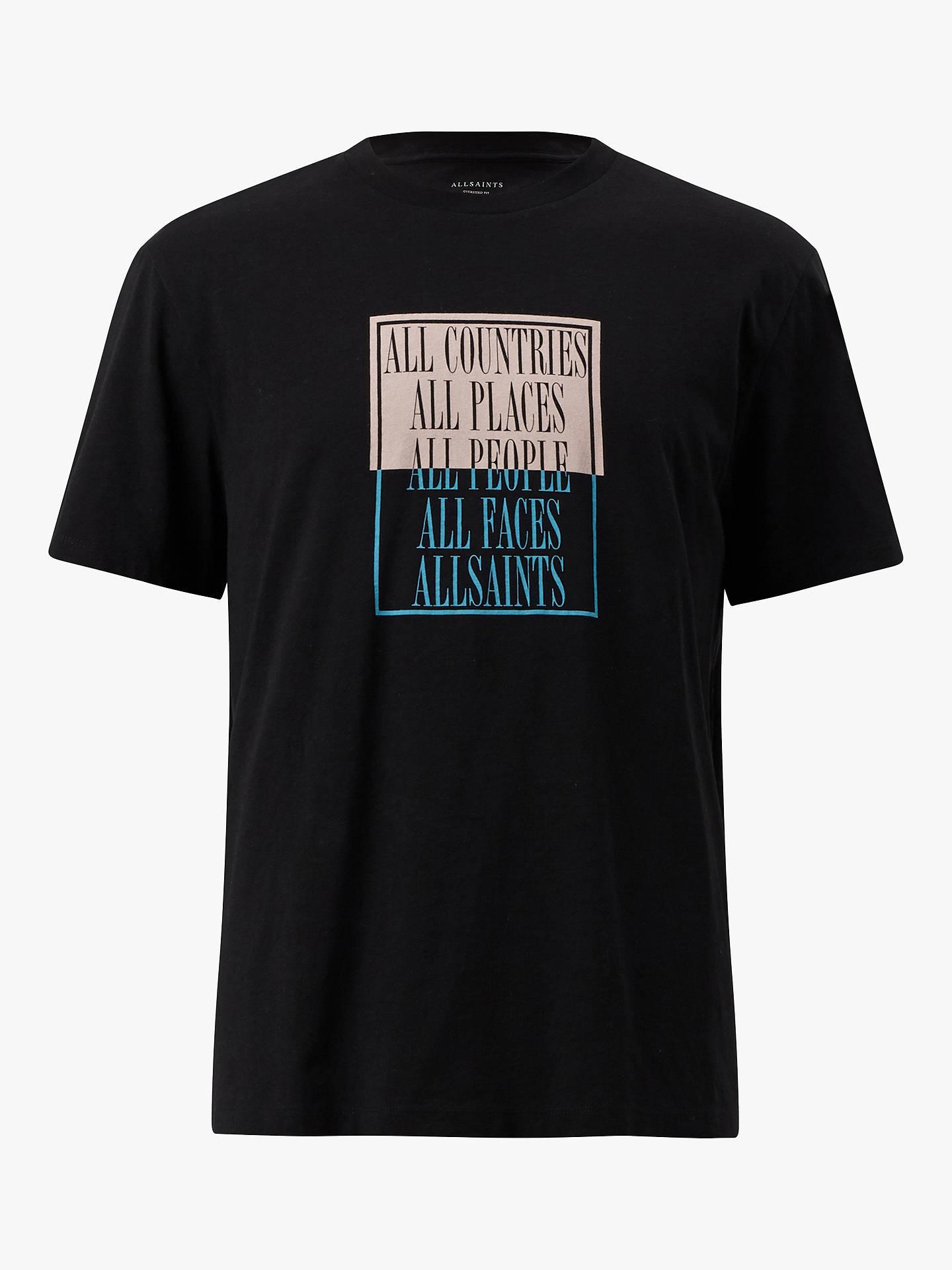 7a9254ef7 ... Buy AllSaints Embrace Graphic Crew T-Shirt, Jet Black, L Online at  johnlewis