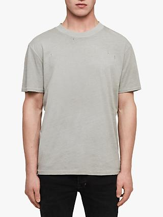 AllSaints Sunset Crew Neck Distressed T-Shirt, Putty Grey