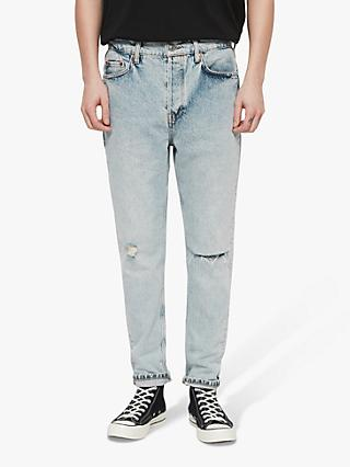 daa971efeb2 AllSaints Ridge Straight Leg Damaged Jeans, Light Indigo Blue