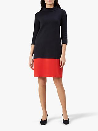 Hobbs Audrey Dress, Navy/Red