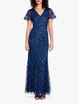 Adrianna Papell Sequin Mermaid Dress, Deep Blue