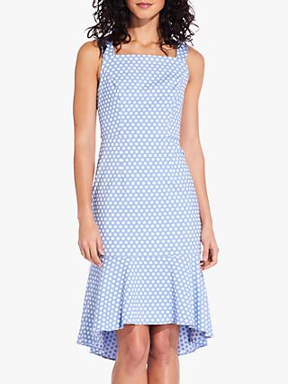 Adrianna Papell Polka Trumpet Skirt Dress, Sky