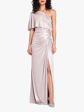 Adrianna Papell Metallic Draped Gown, Dusted Petal