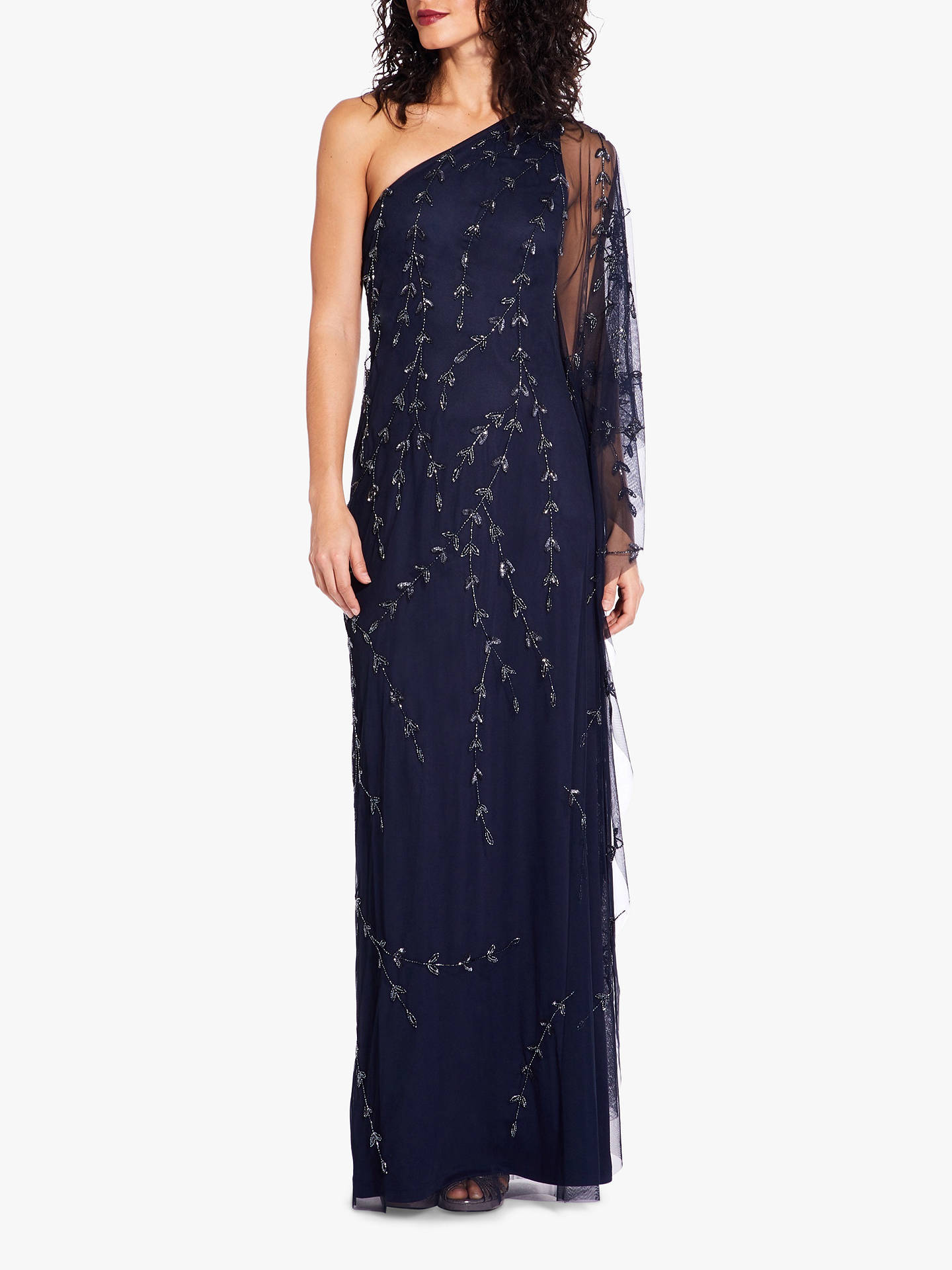 a4e775739312d Buy Adrianna Papell One Shoulder Kaftan Maxi Dress, Midnight, 8 Online at  johnlewis.