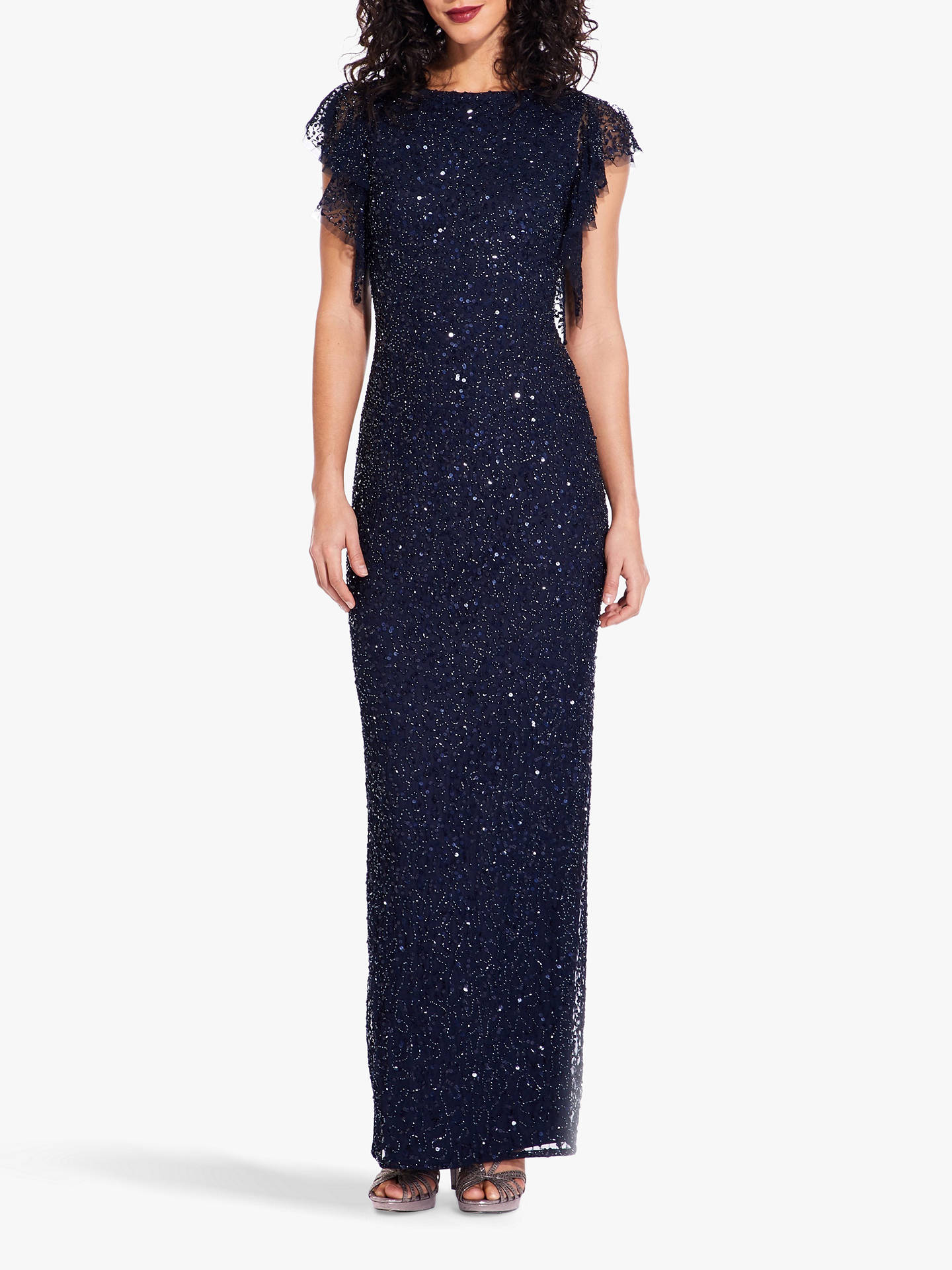 91c4b742 Buy Adrianna Papell Sequin Maxi Dress, Midnight, 6 Online at johnlewis.com  ...