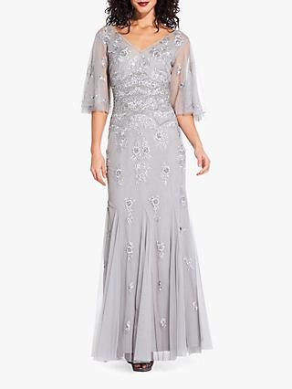 Adrianna Papell Floral Beaded Gown, Bridal Silver