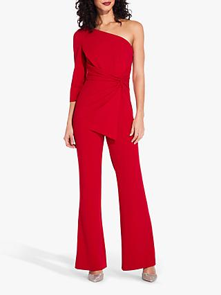 Adrianna Papell One Shoulder Jumpsuit, Dark Cherry