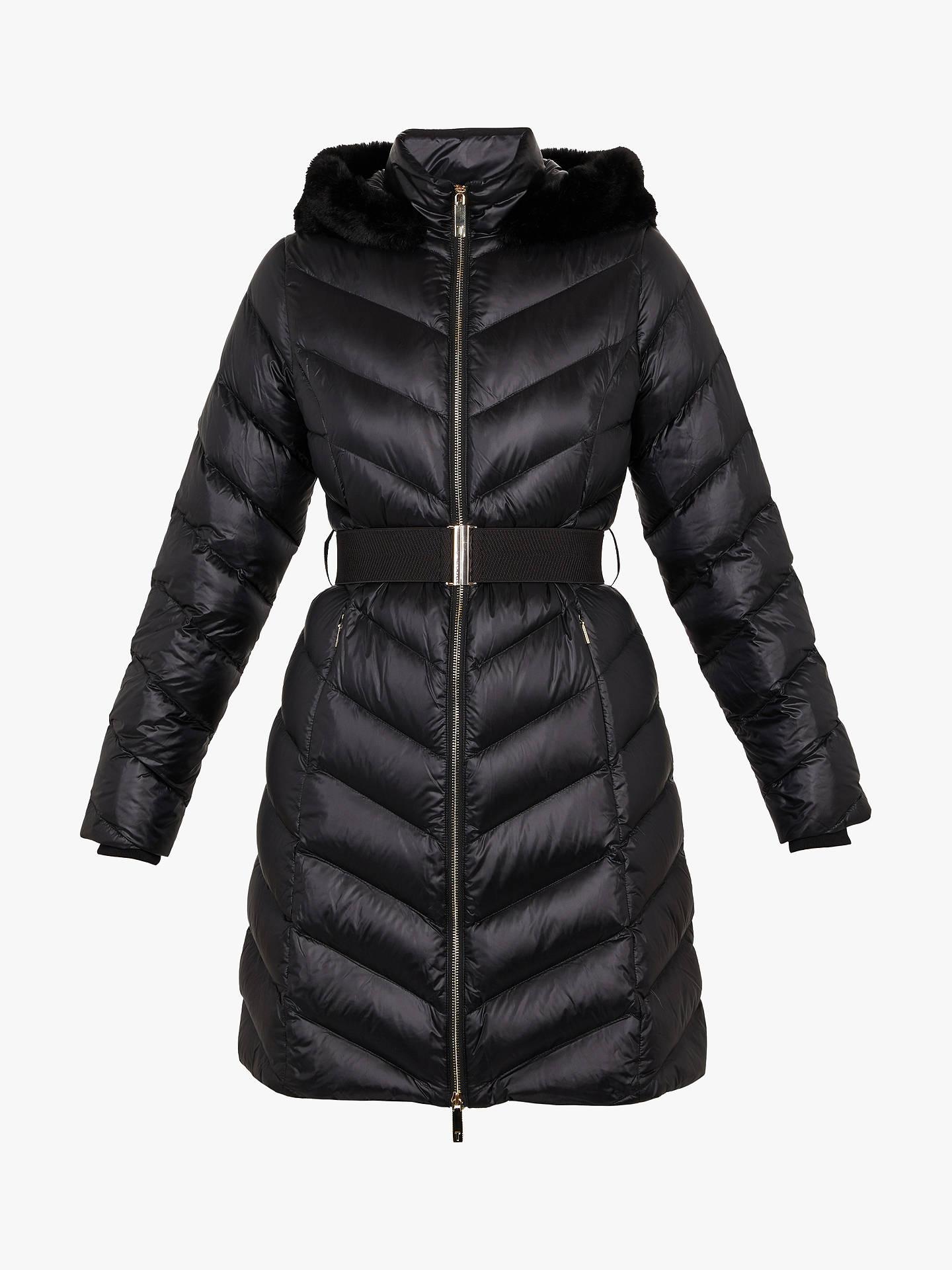 064c45dadf12 Buy Ted Baker Millsa Chevron Long Puffer Jacket, Black, S Online at  johnlewis.