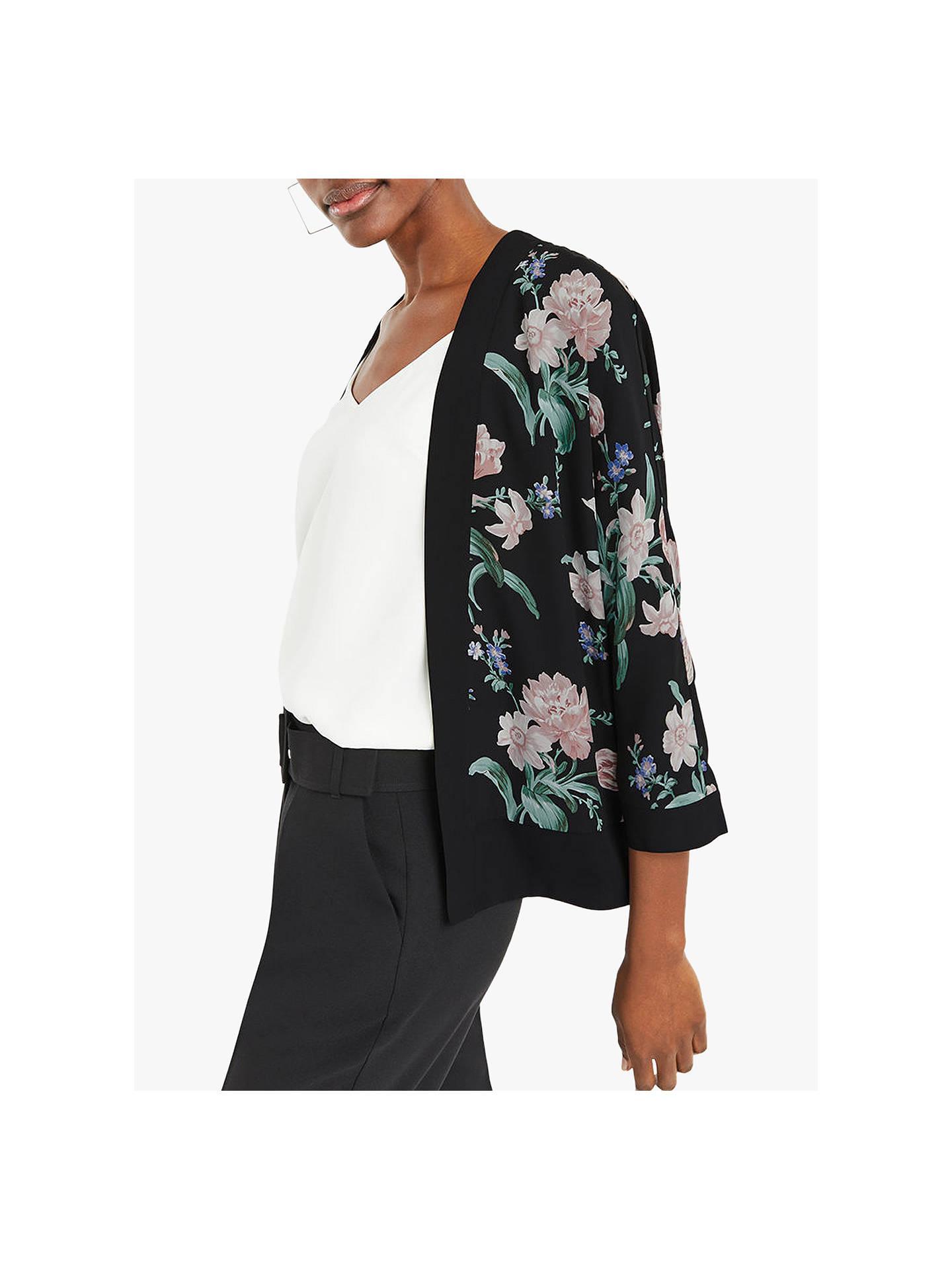 1f3064595238 Buy Oasis Petunia Kimono Jacket, Black/Multi, 6 Online at johnlewis.com ...