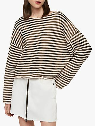 AllSaints Bleach Out Stripe Jumper, Ink Navy/Stone White