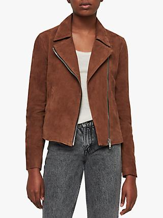 4808162e5090 AllSaints Vela Suede Leather Biker Jacket