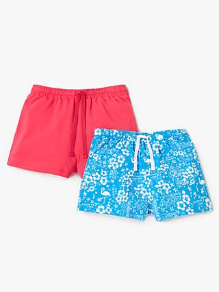 John Lewis & Partners Girls' Floral Print Shorts, Pack of 2, Dark Pink/Blue