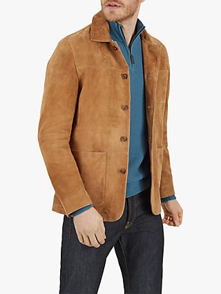 Jaeger Suede Jacket, Tan/Plain