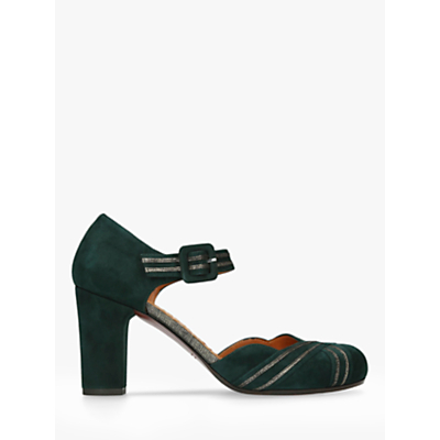 Chie Mihara Kilo Block Heel Ankle Strap Court Shoes, Green Suede