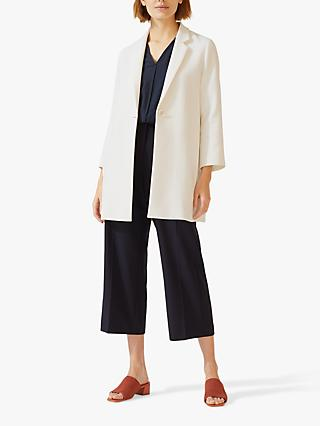Jigsaw Modern One Button Coat, Off White