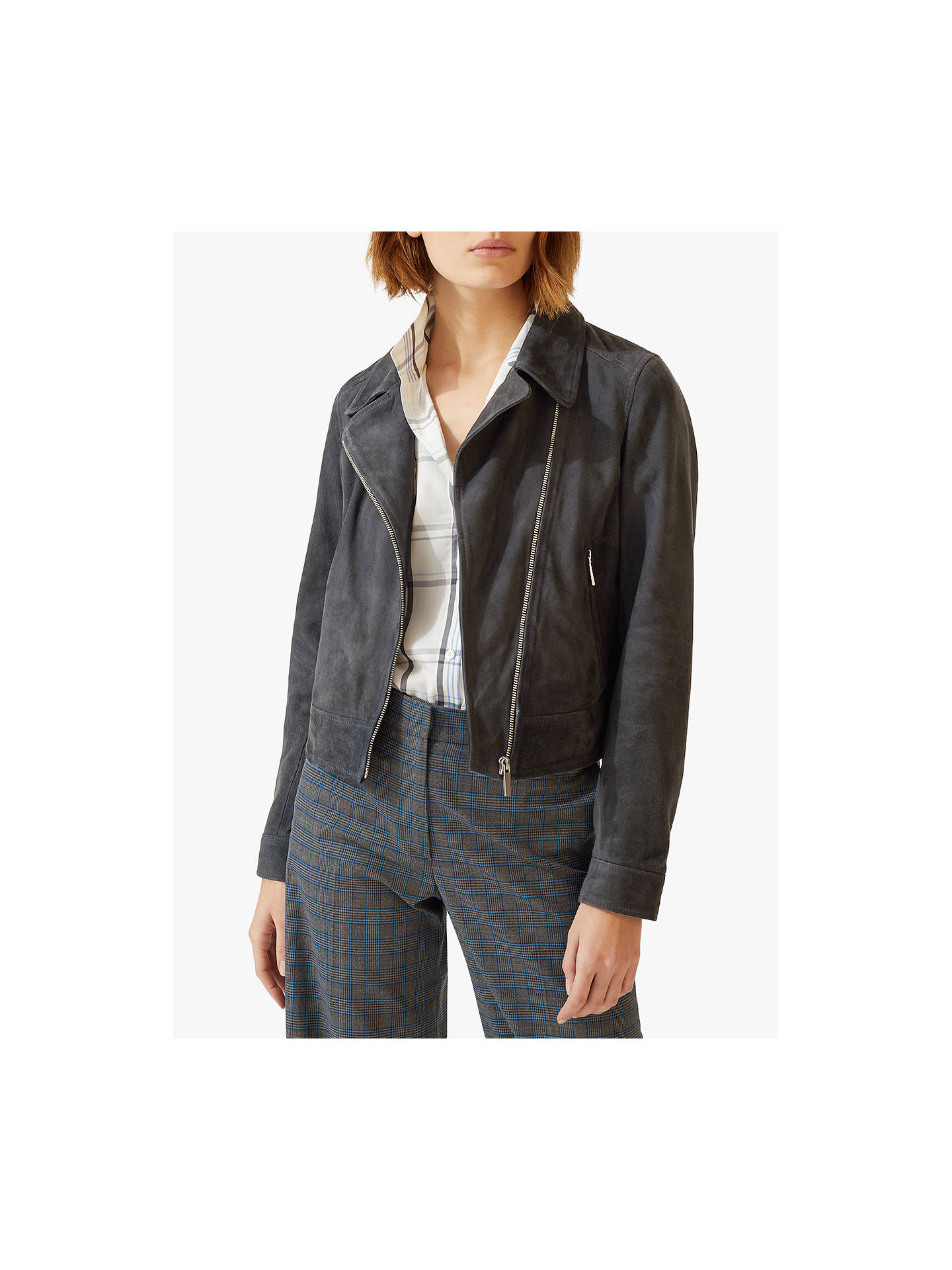 7e25388a1 Jigsaw Suede Biker Jacket, Gravel at John Lewis & Partners
