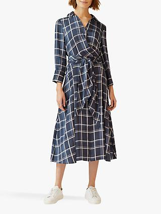 Jigsaw Check Tie Waist Shirt Dress, Navy
