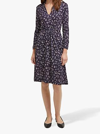 French Connection Felicienne Drape Dress, Utility Blue/Sweet Pea