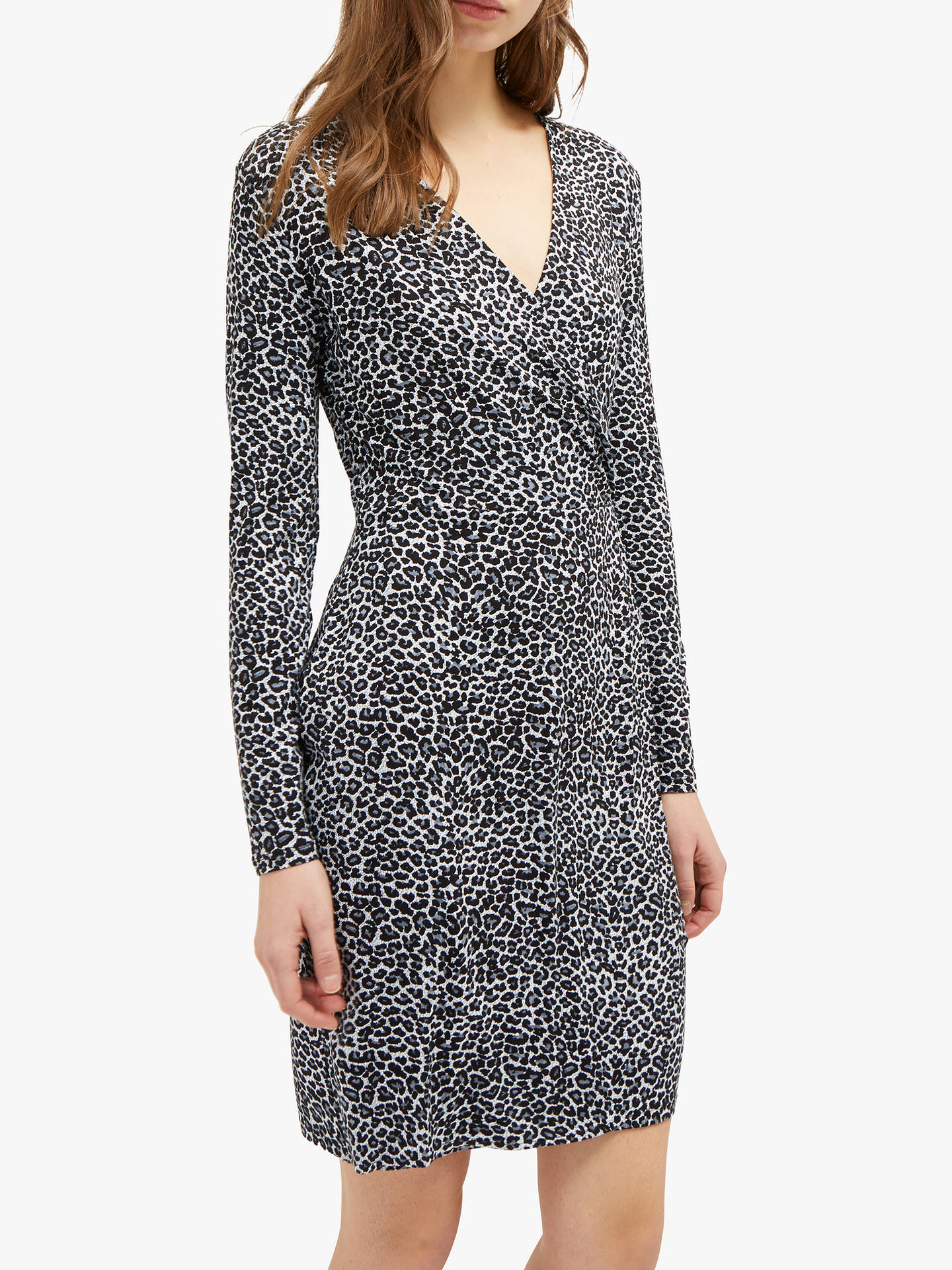 Buy French Connection Leopard Frill Neck Dress, Grey/Leopard, 14 Online at johnlewis.com