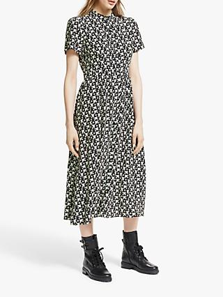 Somerset by Alice Temperley Star Bird Midi Shirt Dress, Black/Ivory