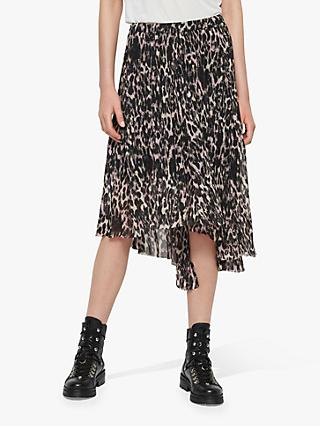 25ab7d14b2538d AllSaints Leopard Asymmetric Pleated Midi Skirt