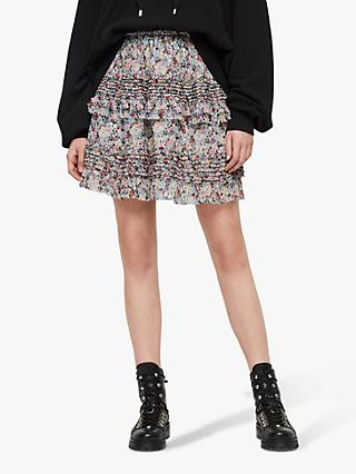 f2679a047001 AllSaints Sanse Floral Sketch Mini Skirt, Violet/Multi