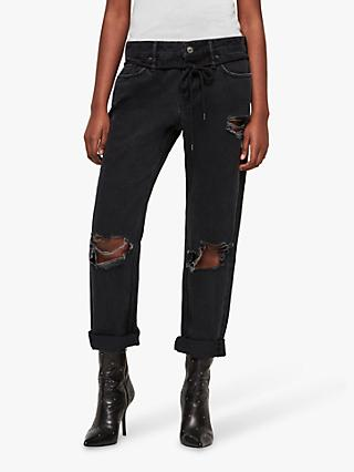 AllSaints Alana Boyfriend Ripped Jeans, Washed Black