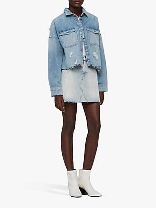 AllSaints Mae Denim Skirt, Ice Blue