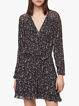 AllSaints Kaylee Sketch Playsuit, Black/Multi